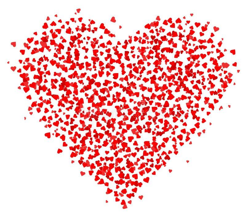 Porciones de los pequeños corazones rojos compuestos en una forma del corazón, decoración para las tarjetas de felicitación sobre stock de ilustración