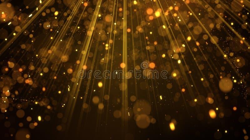 Porciones de partículas del brillo del oro en rayos ligeros libre illustration