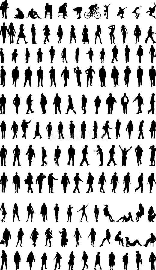 Porciones de siluetas de la gente ilustración del vector