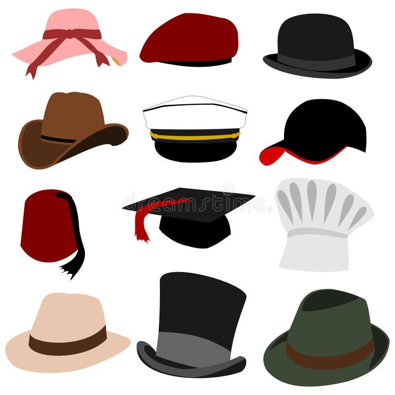 Porciones del conjunto 01 de los sombreros ilustración del vector