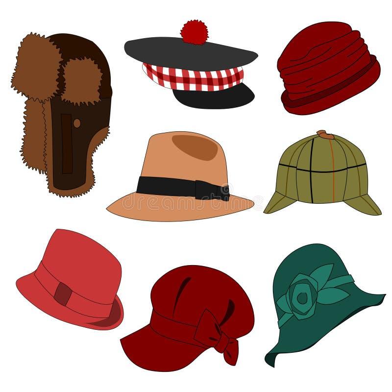 Porciones del conjunto 02 de los sombreros stock de ilustración
