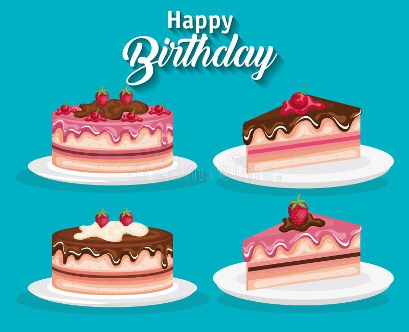 Porciones determinadas de la torta del feliz cumpleaños ilustración del vector