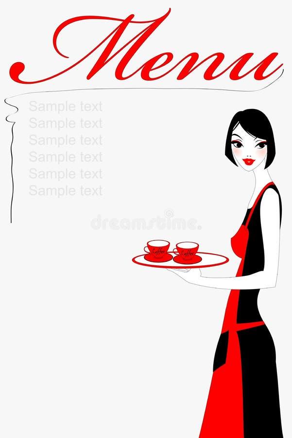 porcja kawowa kelnerka ilustracji