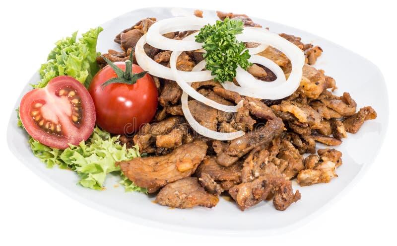 Porcja Kebabu mięso na bielu obrazy stock