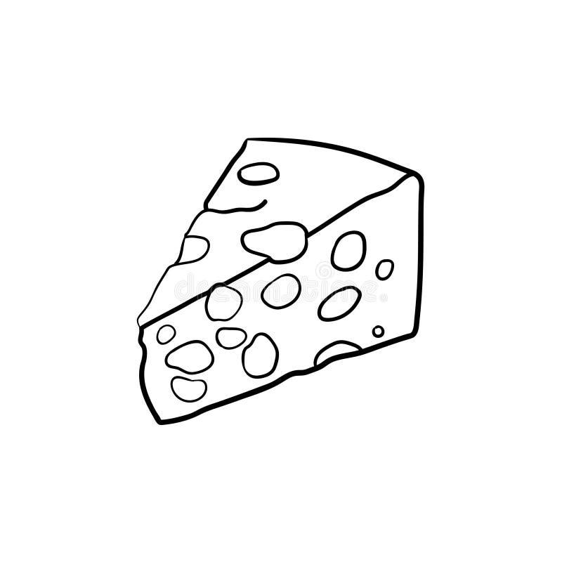 Porcja serowa ręka rysująca nakreślenie ikona ilustracji