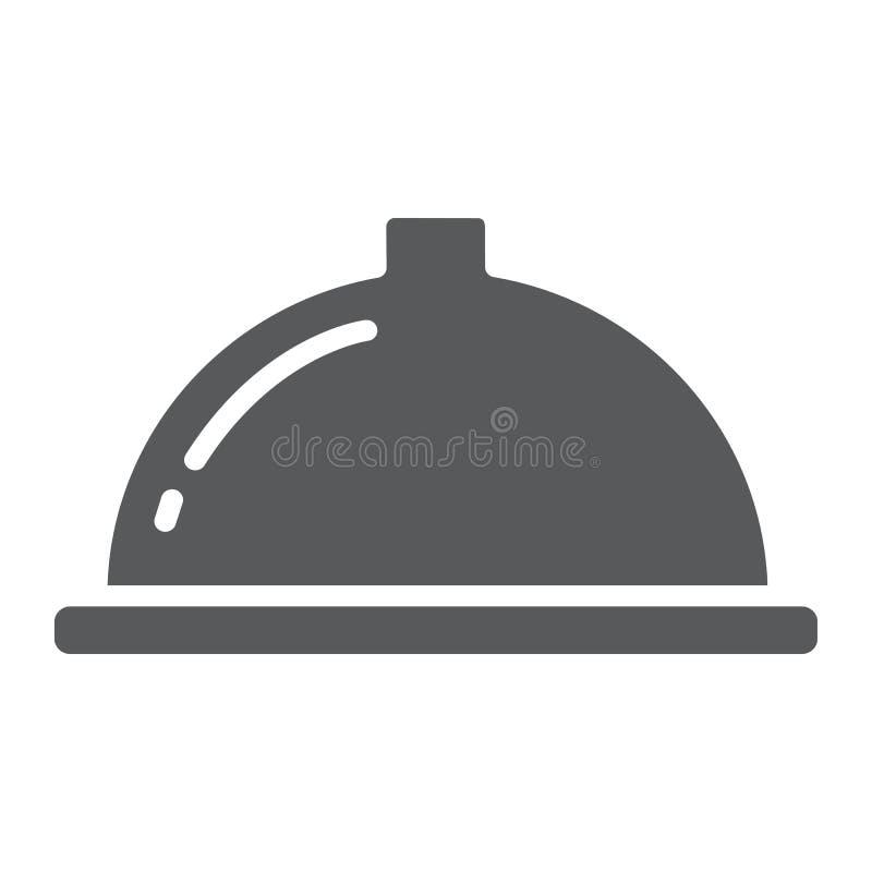 Porcji tacy glifu ikona, jedzenie i restauracja, naczynie znak, wektorowe grafika, bryła wzór na białym tle ilustracji