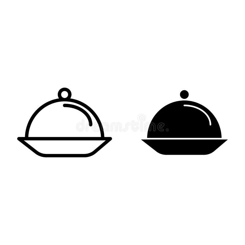 Porcji tacy linia i glif ikona Talerz z pokrywkową wektorową ilustracją odizolowywającą na bielu Naczynie konturu stylu projekt ilustracja wektor