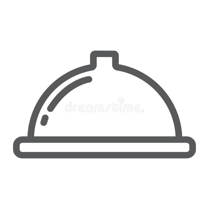 Porcji tacy linii ikona, jedzenie i restauracja, naczynie znak, wektorowe grafika, liniowy wzór na białym tle ilustracja wektor