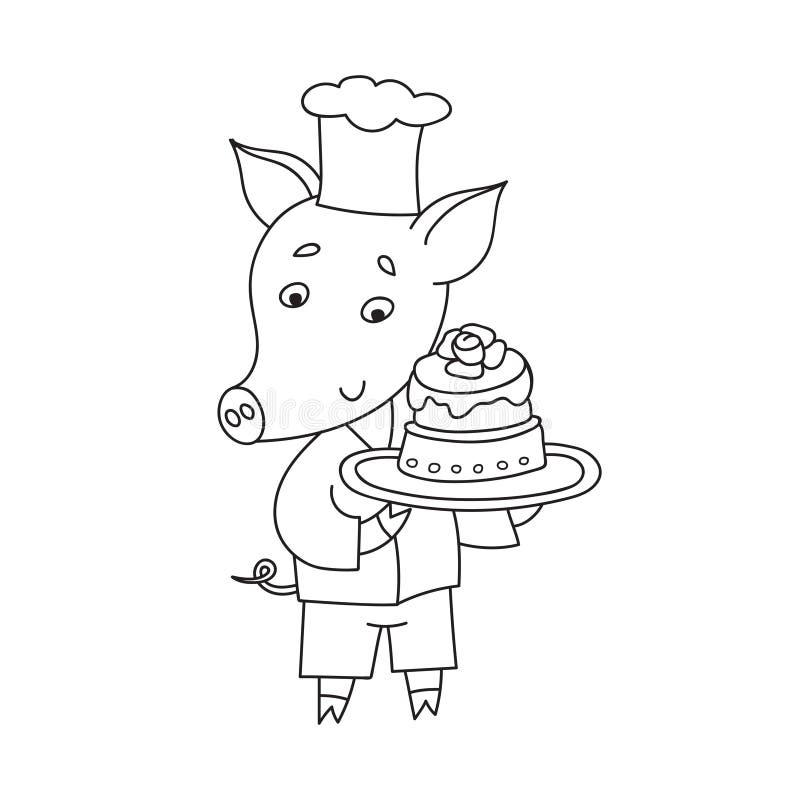 Porco alegre do vetor com bolo doce Pasteleiro feliz dos desenhos animados ilustração do vetor