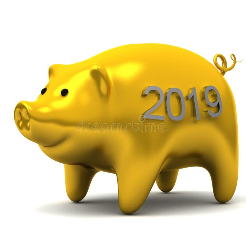 Porco amarelo chinês do ano novo do zodíaco foto de stock royalty free