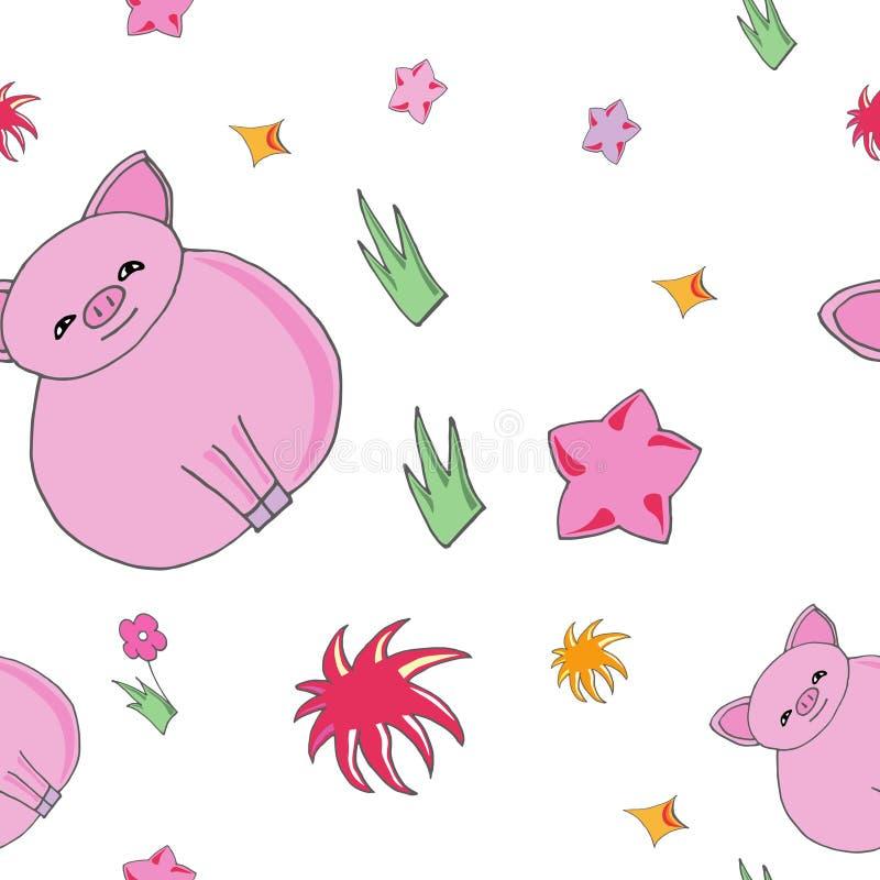 Porco bonito do bebê dos desenhos animados ilustração royalty free