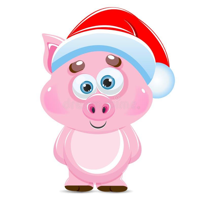 Porco bonito do rosa do vetor dos desenhos animados Animal do ano novo 2019 ilustração royalty free