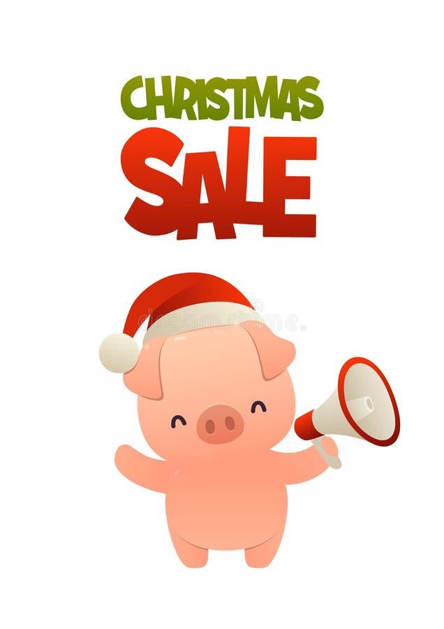 Porco bonito dos desenhos animados com venda do Natal do megafone e do texto ilustração royalty free
