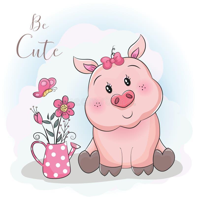 Porco bonito e flor dos desenhos animados com fundo do céu ilustração stock