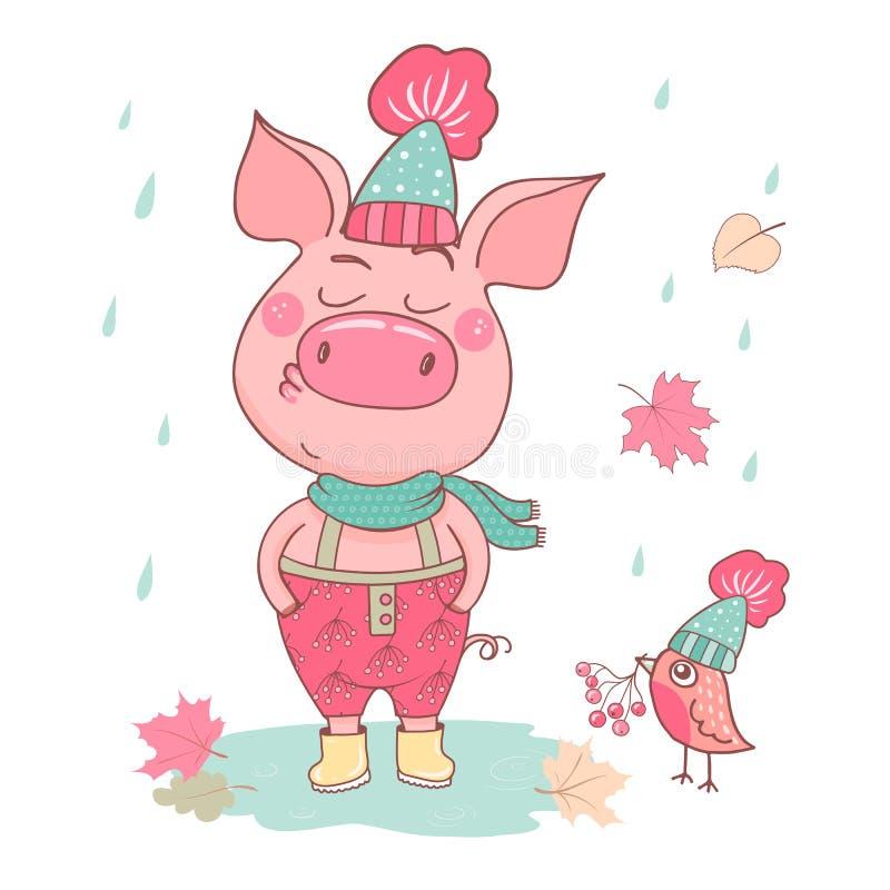 Porco bonito engraçado com uma expressão arrogante ilustração stock