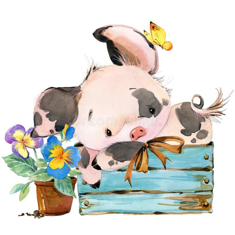 Porco bonito ilustração do animal da aquarela dos desenhos animados ilustração stock