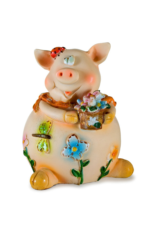 Porco com flores imagem de stock royalty free