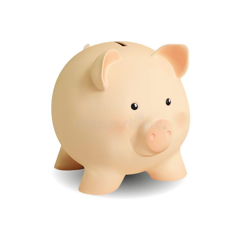 Porco cor-de-rosa realístico do mealheiro, desenhos animados no fundo branco ilustração stock