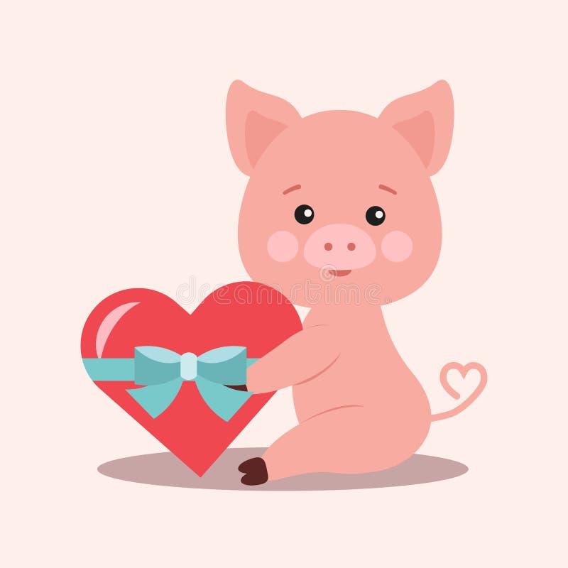 Porco cor-de-rosa romântico pequeno bonito isolado com presente em uma forma do coração vermelho amarrada com uma fita azul ilustração royalty free