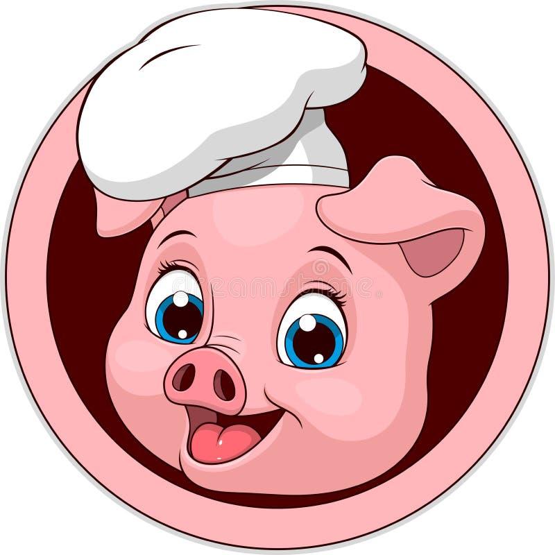 Porco-cozinheiro engraçado engraçado ilustração royalty free