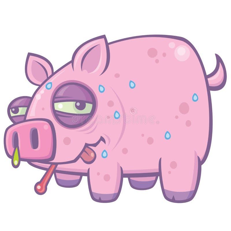Porco da gripe dos suínos dos desenhos animados ilustração stock