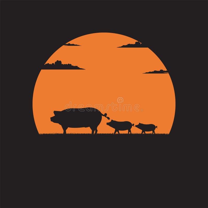 Porco da mãe da silhueta com os leitão pequenos que andam no prado do fundo do por do sol ilustração do vetor