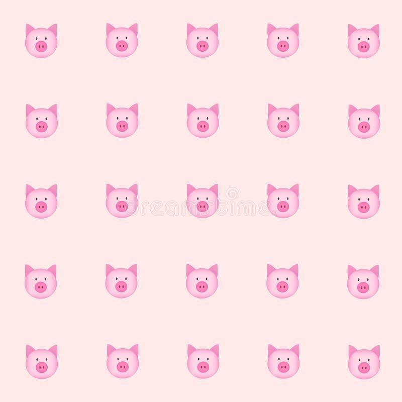 Porco de Cutie com fundo cor-de-rosa Fundo da telha Vetor Ilustração azul verde vermelho básico ilustração royalty free
