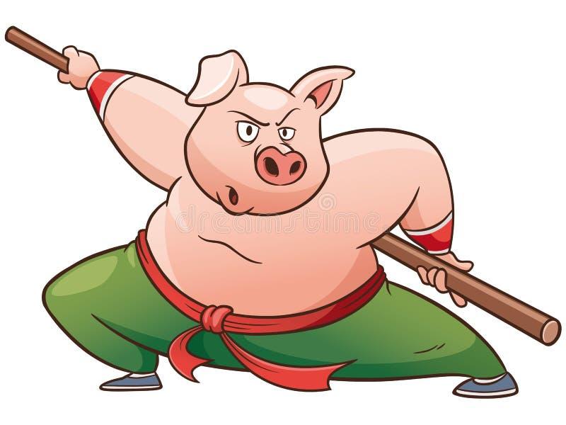 Porco do kung-fu ilustração stock