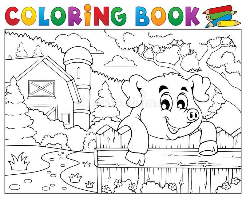 Porco do livro para colorir atrás da cerca perto da exploração agrícola ilustração royalty free