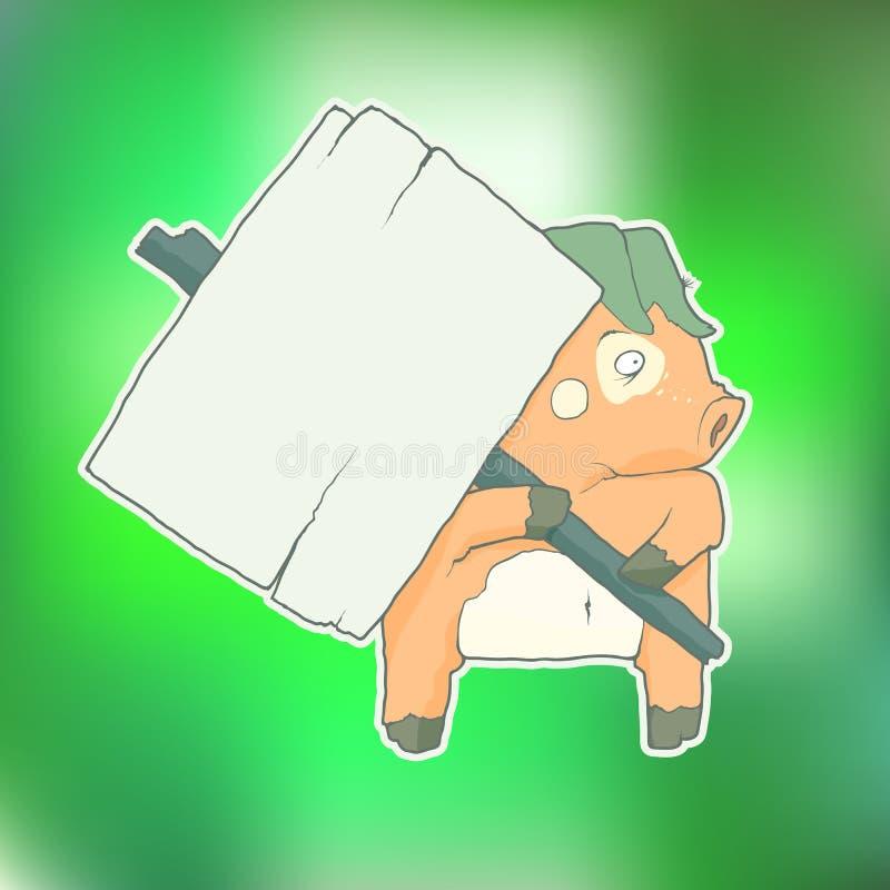 Porco do personagem de banda desenhada com o cartaz de madeira isolado ilustração stock