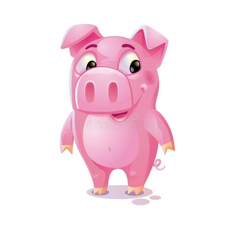 Porco dos desenhos animados Porco bonito no fundo branco 3d desenhos animados c ilustração do vetor