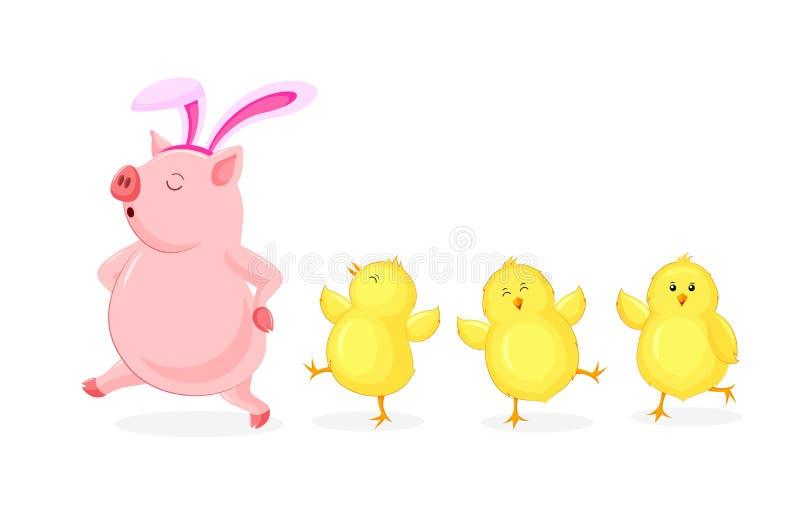 Porco dos desenhos animados com orelha de coelho que anda com pintainhos pequenos ilustração do vetor
