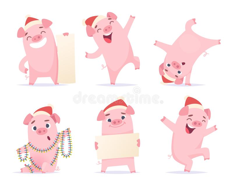 Porco dos desenhos animados do ano novo 2019 ilustrações bonitos engraçadas do vetor da mascote do leitão do porco do varrão dos  ilustração royalty free