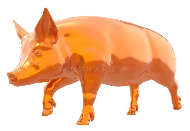 Porco dourado amarelo isolado na ilustração branca do fundo 3d ilustração stock