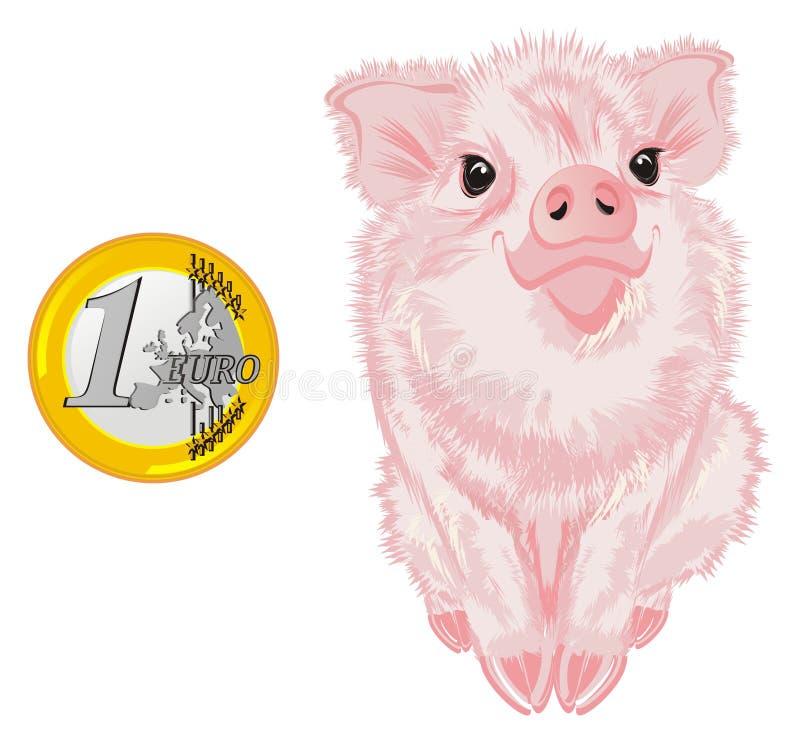 Porco e centavo do dinheiro ilustração do vetor