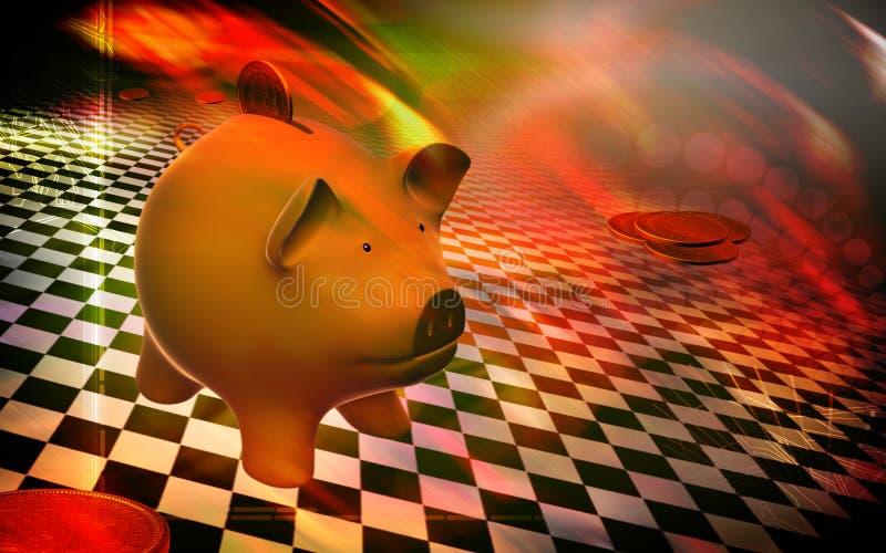 Porco e dólar ilustração do vetor