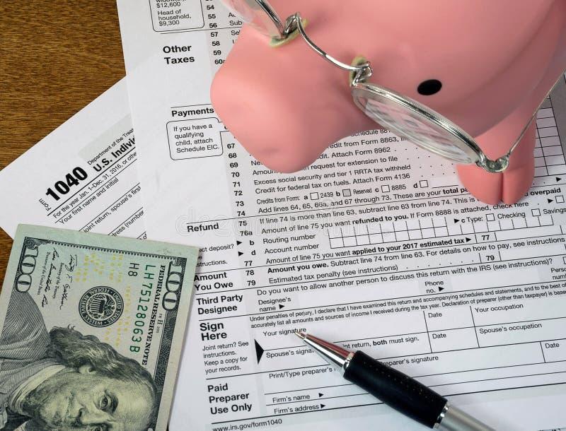 Porco e dinheiro no formulário de imposto da renda fotografia de stock royalty free