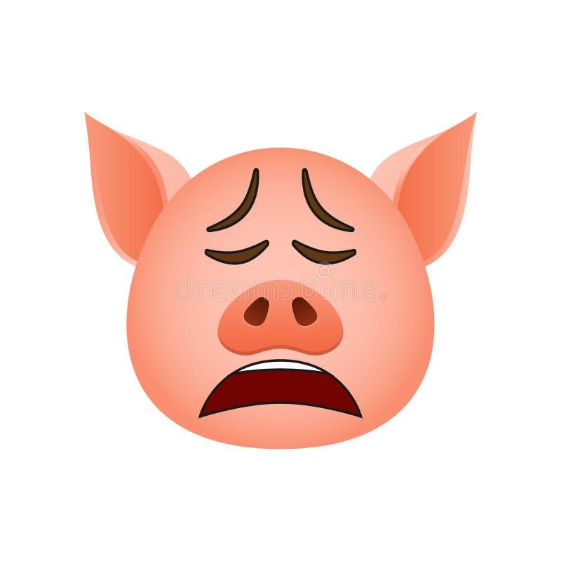 Porco em chorar o ícone do emoji Elemento do ícone do símbolo do ano novo para apps móveis do conceito e da Web O porco detalhado ilustração royalty free