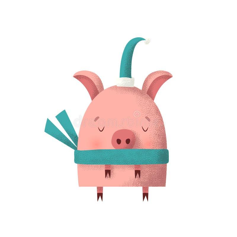Porco em um tampão e em um lenço do verde de Santa ilustração do vetor