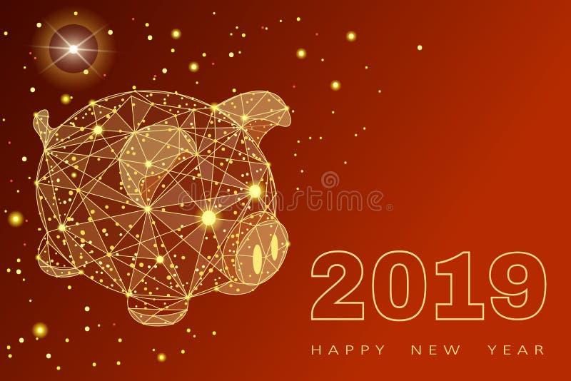 Porco engraçado bonito Ano novo feliz Símbolo chinês dos 2019 anos Vale-oferta festivo excelente Ilustração do vetor no vermelho ilustração royalty free
