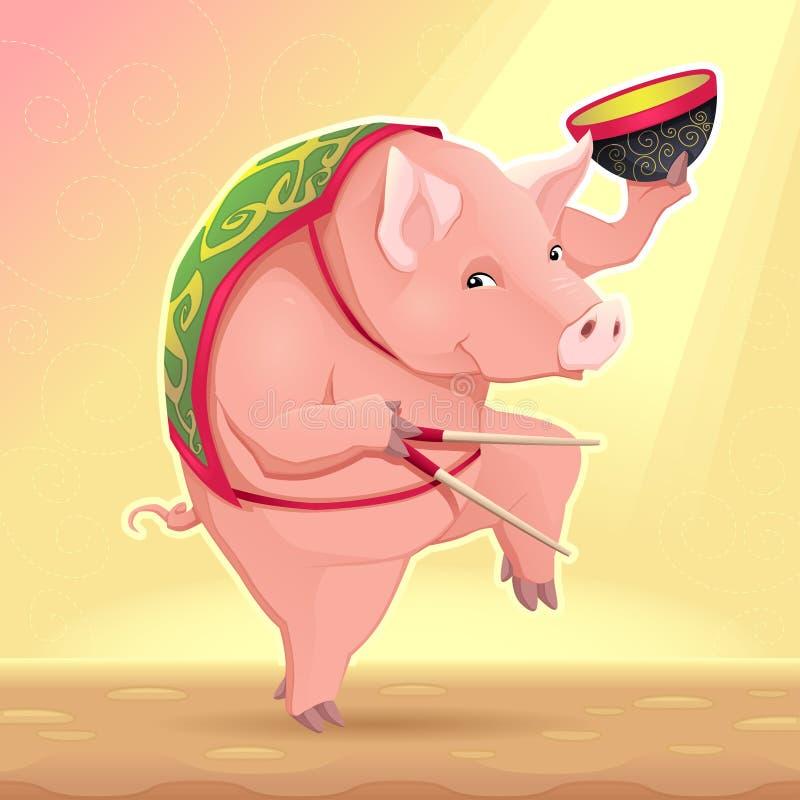 Porco engraçado com bacia de sopa e as varas chinesas ilustração do vetor