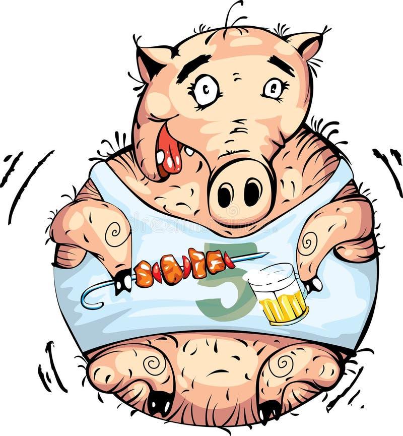 Porco engraçado com cerveja e carne ilustração royalty free