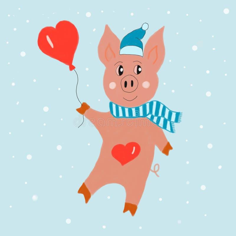 Porco engraçado com o balão do coração na ilustração azul do fundo da neve tirada à mão Pintura de Digitas ilustração stock