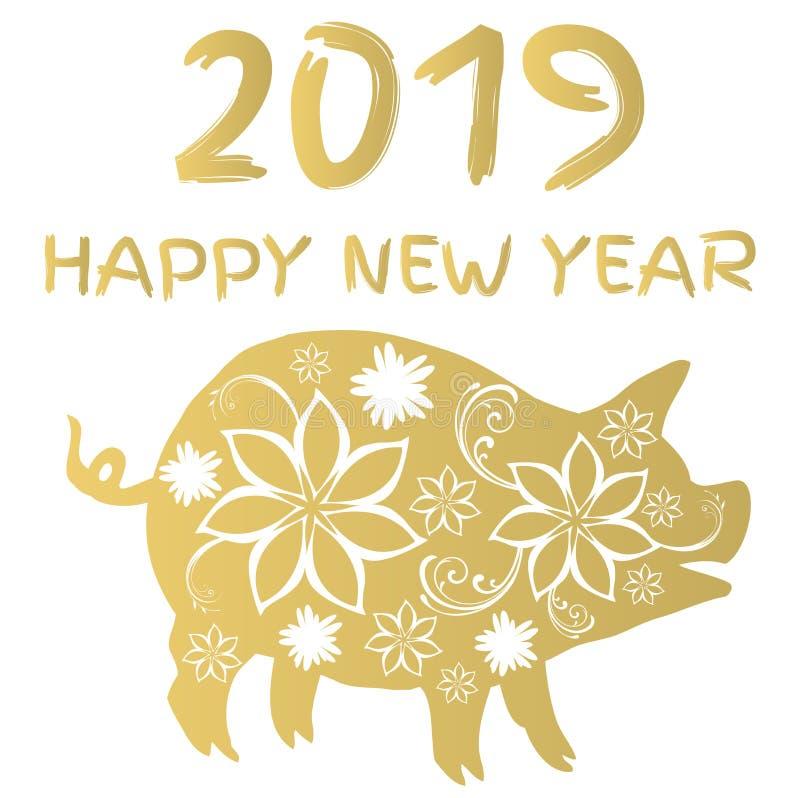Porco floral do vetor 2019 Símbolo chinês do ano novo do calendário ilustração do vetor