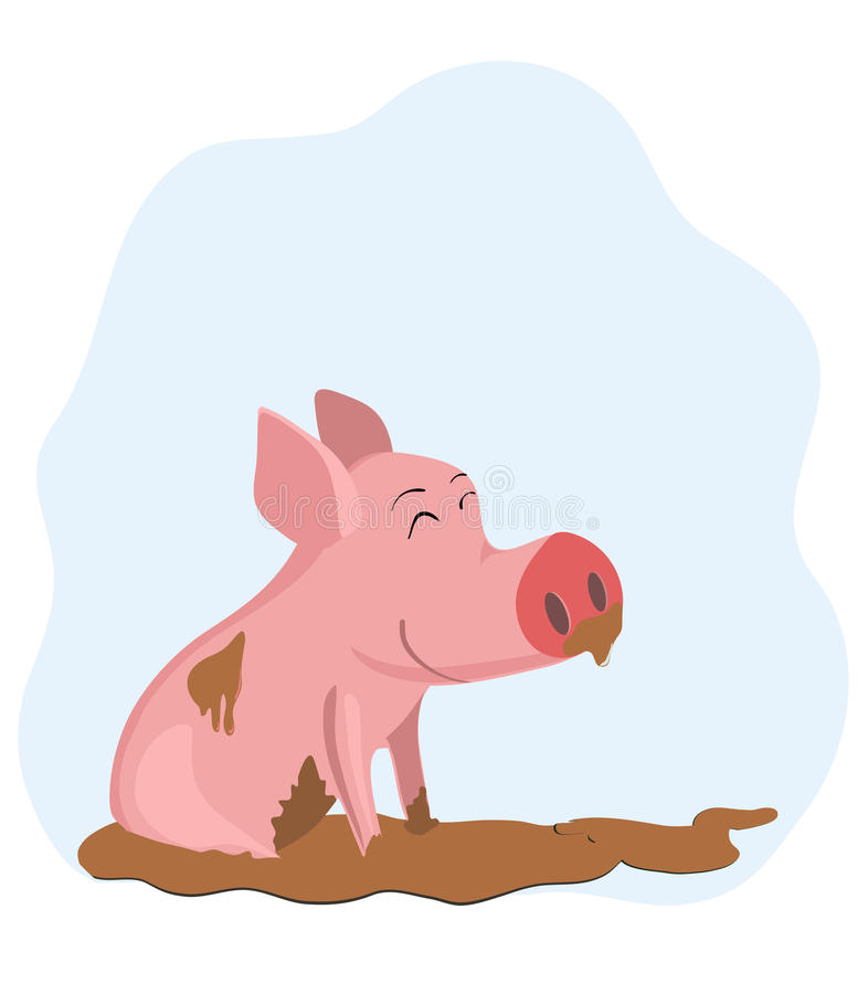 Porco na lama ilustração royalty free