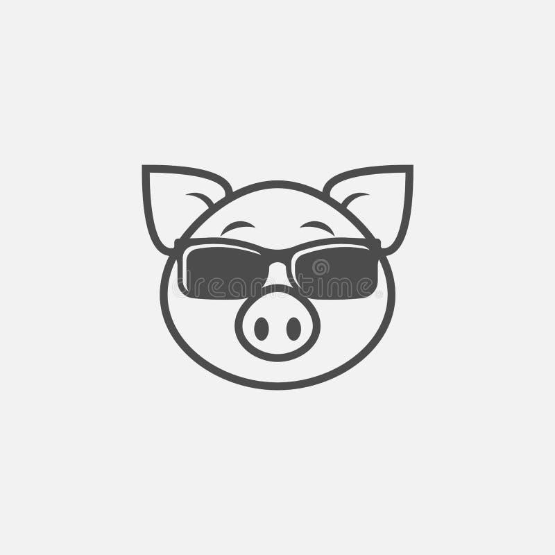 Porco no ícone dos óculos de sol isolado no fundo branco Ilustração do vetor ilustração royalty free