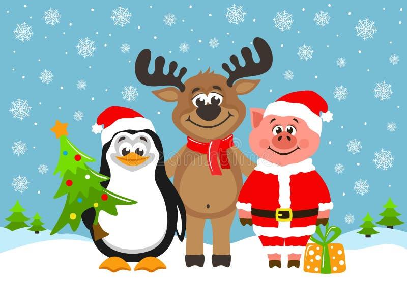 Porco no traje de Santa Claus, na rena engraçada e no pinguim bonito ilustração royalty free