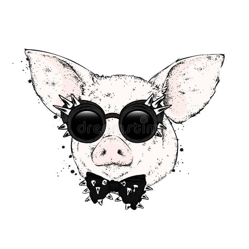 Porco nos vidros e um laço com espinhos Ilustração do vetor ilustração stock