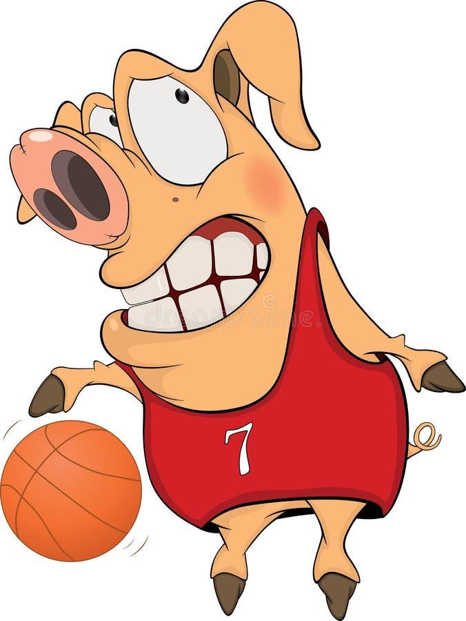Porco os desenhos animados do jogador de basquetebol ilustração stock