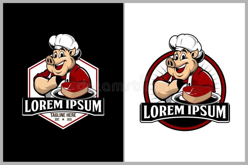 Porco ou carne de porco com os pratos da carne para o molde do logotipo do vetor do hexágono dos restaurantes de assado ilustração royalty free